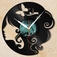 vinyl wall clock - girl