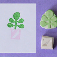 Hand Carved Rubber Stamp - Plant in Pot no.1, set of 2 (Handmade / Hand Carved / Handcarved Rubber Stamp)