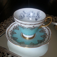 Antique E. Brain & Co. Foley blue and white tea cup and saucer set, with gold and floral accents, English Bone China, wedding gift