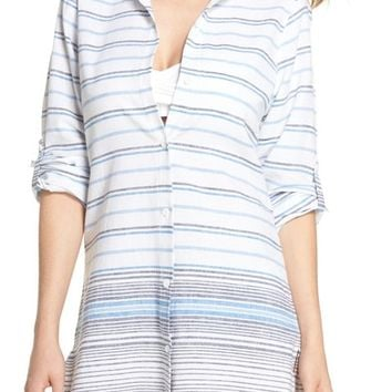 Tommy Bahama Stripe Linen & Cotton Cover-Up Tunic | Nordstrom