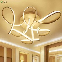 Modern Curved Aluminium Led Chandelier Lighting Lustre Acrylic Dimmable Led Ceiling Fixtures Indoor Lighting White Led Lamps