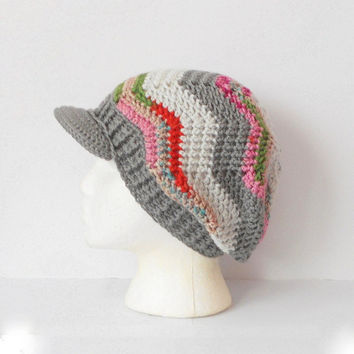 Chevron Stitch Tam Beanie with Wide Brim in Laguna, ready to ship.
