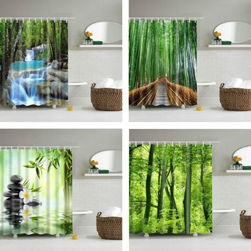 Forest Trees Printed 3d  Waterproof Polyester Fabric Washable  Shower Curtain Screen with Hooks