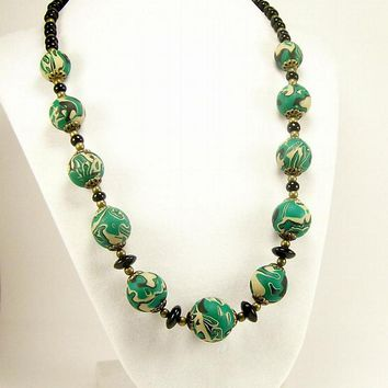 Emerald Green Handmade Polymer Clay Bead Necklace