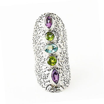 Amethyst, Peridot & Blue Topaz Sterling Silver Statement Ring