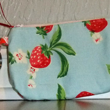 Zip Pouch - Phone Pouch - Cosmetic pouch - zip wallet -Strawberry fabric- strawberry print on light blue background