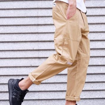 New tide brand men solid color overalls trousers pants sub English trousers casual pants male Khaki