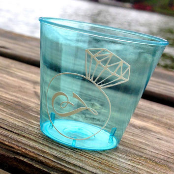 Personalized Shot Glass Monogrammed Shot Glass Bachelorette 21st Birthday Beach Party