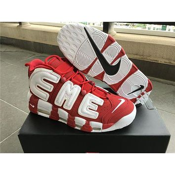 PEAPGE2 Beauty Ticks Supreme X Nike Air More Uptempo Big R Scottie Pippen White/red Basketball Shoes