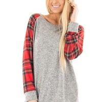 Women Casual Knit Multicolor Tartan Long Sleeve Middle Long Section Round Neck Sweater Tops