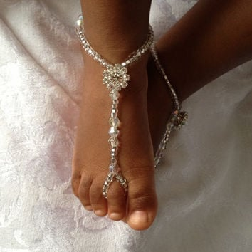 Rhinestone Baby Barefoot Sandals Beaded by SubtleExpressions