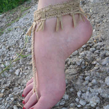 Free Shipping! Handmade Crochet Fringe Barefoot Sandals Ankle Foot Jewelry Beach