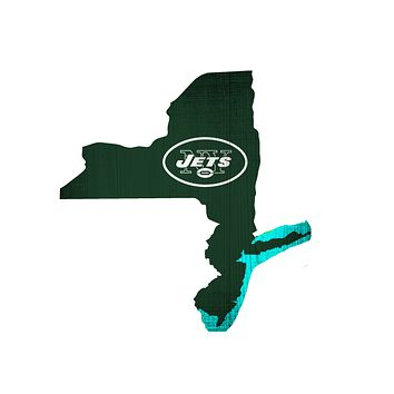 New York Jets Sign Wood Logo State Design