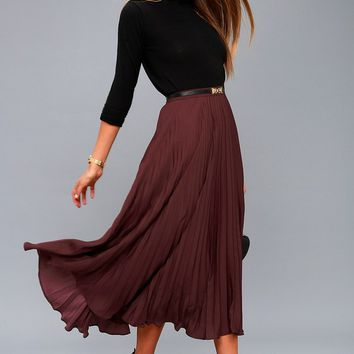 Bordeaux Plum Purple Pleated Midi Skirt