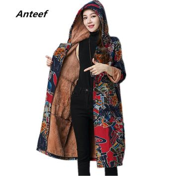 new fashion plus size Cotton linen vintage print hooded casual long loose autumn Winter jacket Coat 2017 women outerwear