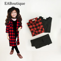 EABoutique spring Street Fashion Long Red Plaid long shirt with vest hole designs pants girls clothing set 3 piece-in Clothing Sets from Mother & Kids on Aliexpress.com | Alibaba Group