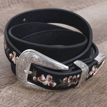 Embroidered Floral Western Buckle Belt