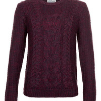 Purple Cable Twist Jumper - Men's Jumpers & Cardigans  - Clothing