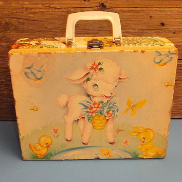 Vintage 50s Margaret Holbrook Art / Little Lamb Suitcase / overnight bag / Case