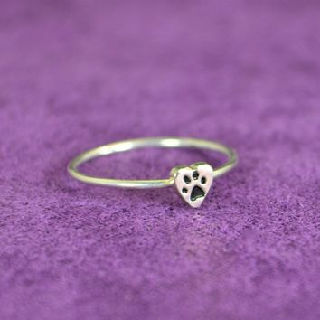 Sterling Silver Dog Print Heart Ring