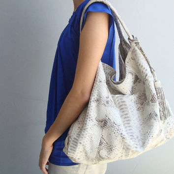 White Snakeskin Leather Purse. Slouchy Shoulder Bag / Tote. Large Hobo Bag -Pick Your Color.