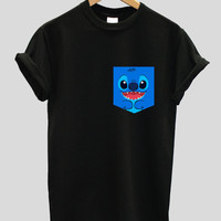 real stitched lilo and stitch Print Pocket T-shirt, Hipster Indie Swag Dope Hype Black White Mens Womens Cute