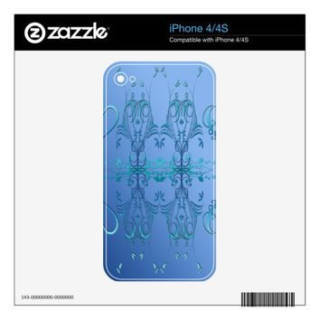 Ornate Blues Decals For iPhone 4