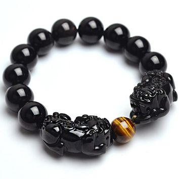 Natural Stone Black Obsidian Bracelet With Tiger Eye And Double Pixiu Lucky Brave Troops Charms Women And Men Jewelry