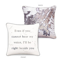 RIGHT BESIDE YOU Mermaid Pillow w/ Iridescent & Silver Sequins