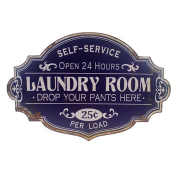 Home Decor LAUNDRY ROOM SIGN Metal Self-Service Oper 24 Hours Da5716