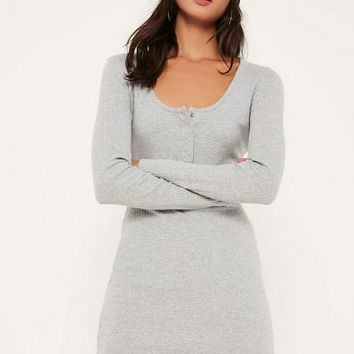 Missguided - Grey Long Sleeve Half Placket Popper Dress