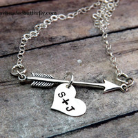 Valentines Day-cupids arrow- Hand stamped-personalized jewelry-arrow and heart necklace-boyfriend-girlfriend-necklace-heart with arrow