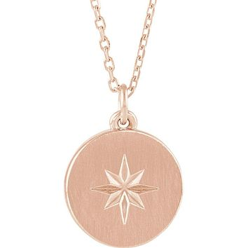 14k White, Yellow or Rose Gold 11mm Starburst Disc Necklace, 16-18 In.