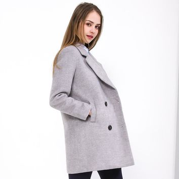 BIBOYAMALL Winter Wool Coat Women 2017 Autumn Women Woolen Elegant Slim Long Coat Women Jacket Royal Coats Femininos Gray