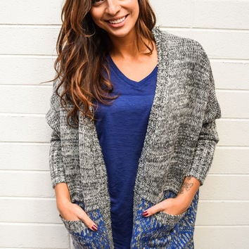 Snow Day Oversize Navy Cardigan