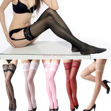 Women's Sexy Lace Top Silicone Stay Up Thigh-Highs Stockings SV001134 One Size Underwear = 1745579844