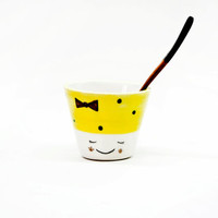Ceramic bowl face kawaii, Funny bowls & cups, Espresso cups, Small pottery bowl, Ceramics and Pottery, Funny Kawaii bowl, Noemarin Viruset