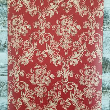 Victorian Damask in Tan on Red Wallpaper