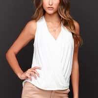 Twist and Make Up Ivory Tank Top