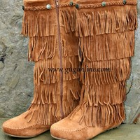 Five Layer Fringe Boots with Metal Embellishments and Braided Topline- Tan