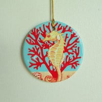 Coastal Inspired Christmas Tree Ornament Ceramic Artprint