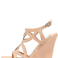 Pretty Please Nude Caged Wedge Sandals