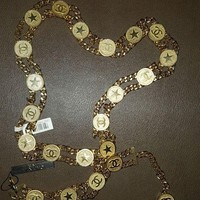 BRAND NEW AUTH Vintage CHANEL 2001 2Row Gold Tone Chain Belt CC Star Medallions!