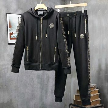 PHILIPP PLEIN hooded sports leisure suit zip ironing letter popular logo suit man