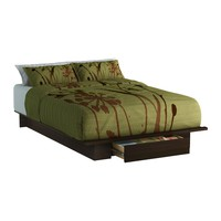 Queen Size Modern Platform Bed Frame with Bottom Storage Drawer in Mocha