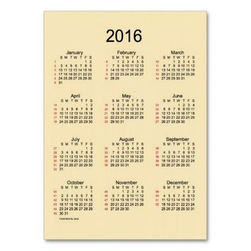 52 Week Calendar 2016 Business Cards
