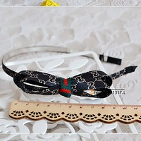 GUCCI double-decker bowknot G-band classic cloth headband hairpin card  Mysterious pure black single