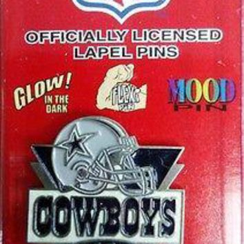 Dallas Cowboys Metal Hat or Lapel Pin Die Cut Glow In the Dark Football