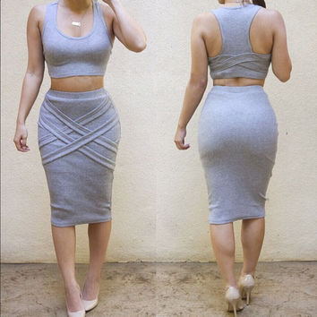 Gray Sleeveless Bodycon Cropped Top Midi Skirt Set