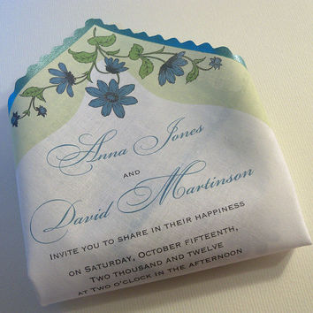 Rustic wedding invitation handkerchiefs with wild flowers - set of 10